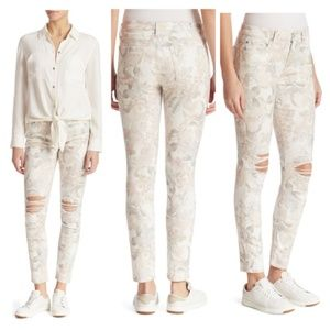 28 NWT 7FAM Distressed Floral Ankle Skinny Jean